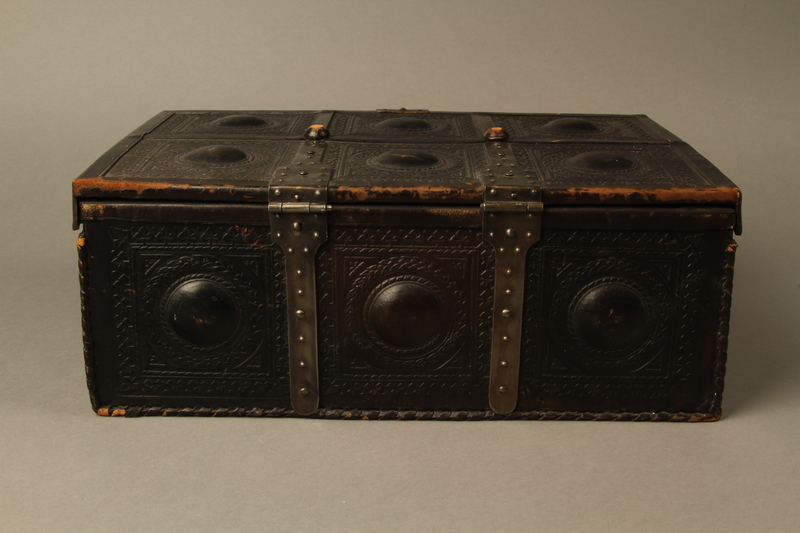 2015.600.2 back Leather and metal box owned by German Jewish refugees
