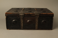 2015.600.2 back Leather and metal box owned by German Jewish refugees  Click to enlarge