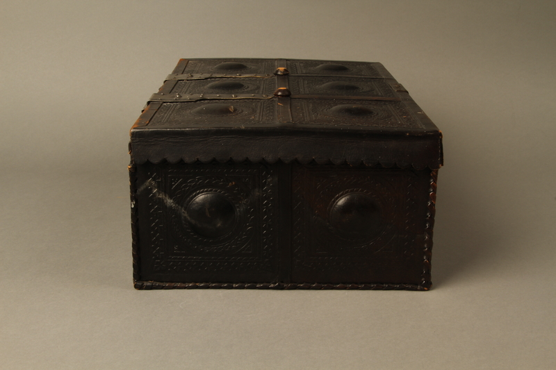 2015.600.2 right Leather and metal box owned by German Jewish refugees