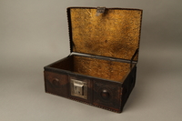 2015.600.2 open Leather and metal box owned by German Jewish refugees  Click to enlarge