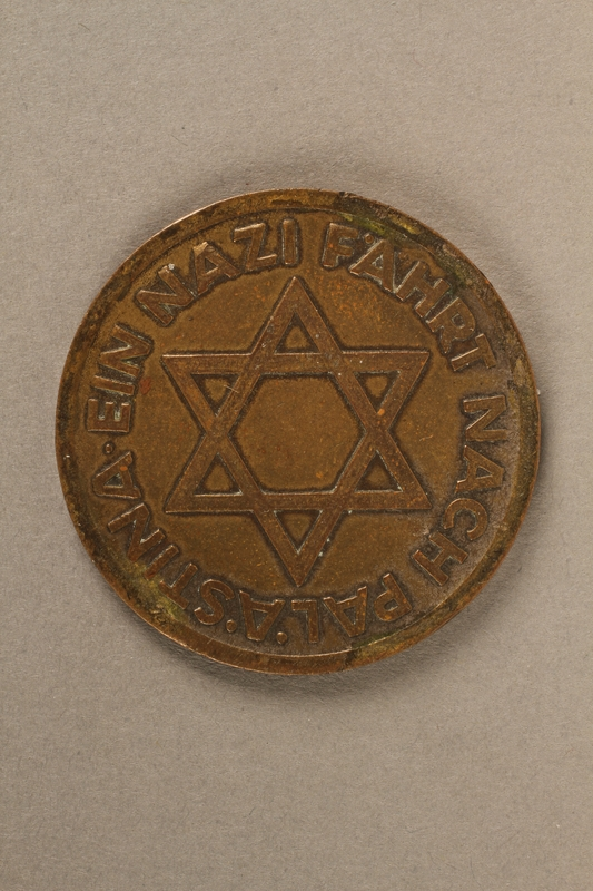 2017.210.1 back Souvenir coin with a swastika and Star of David