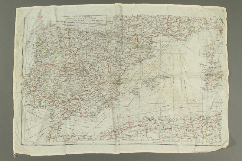 2017.245.2 side A Cloth map used by a Dutch Resistance member