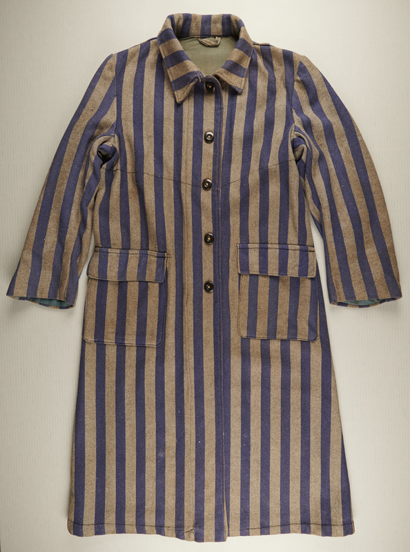 2017.134.1 front Concentration camp uniform coat worn by an inmate