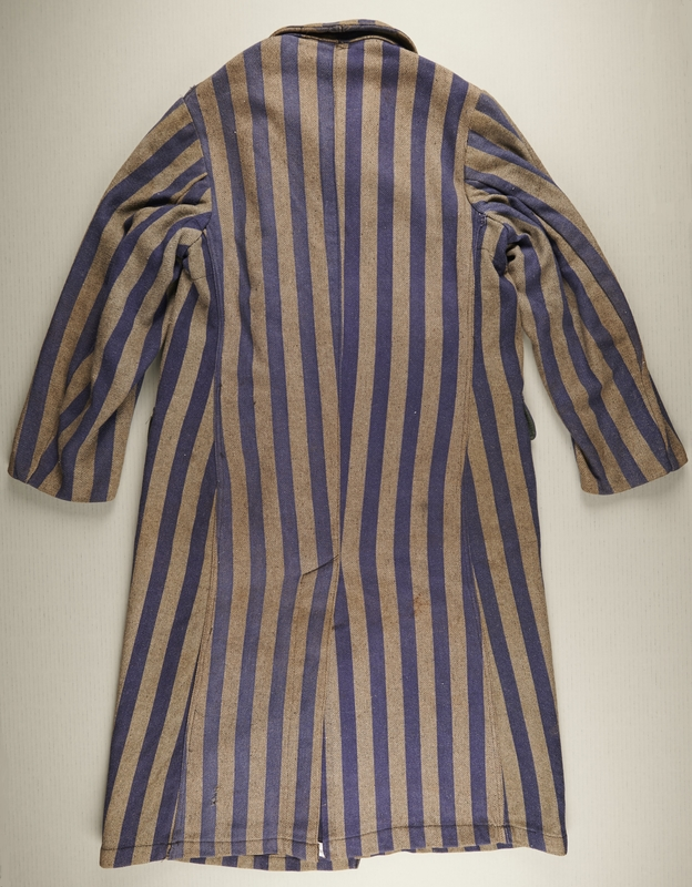 2017.134.1 back Concentration camp uniform coat worn by an inmate