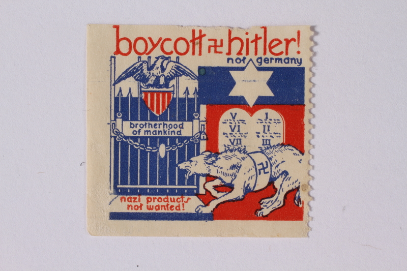 1991.68.3 front US anti-Nazi boycott stamp with a Star of David, 10 Commandments tablets, and a Nazi dog