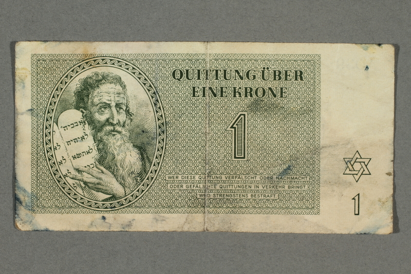 2016.496.4 front Theresienstadt ghetto-labor camp scrip, 1 krone note, belonging to a German Jewish inmate