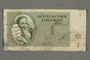 Theresienstadt ghetto-labor camp scrip, 1 krone note, belonging to a German Jewish inmate