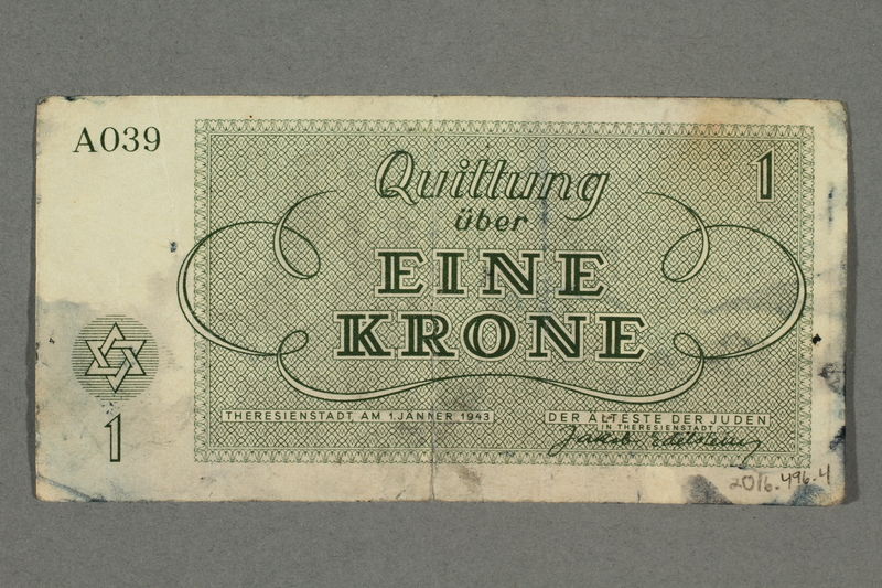 2016.496.4 back Theresienstadt ghetto-labor camp scrip, 1 krone note, belonging to a German Jewish inmate