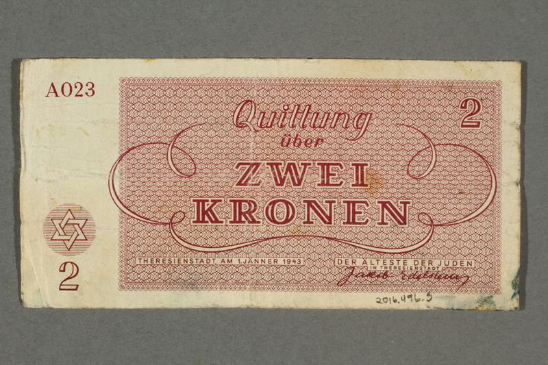 2016.496.5 back Theresienstadt ghetto-labor camp scrip, 2 kronen note, belonging to a German Jewish inmate