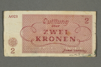 2016.496.5 back Theresienstadt ghetto-labor camp scrip, 2 kronen note, belonging to a German Jewish inmate  Click to enlarge