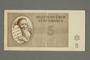 Theresienstadt ghetto-labor camp scrip, 5 kronen note, belonging to a German Jewish inmate