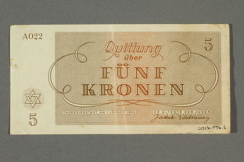 2016.496.6 back Theresienstadt ghetto-labor camp scrip, 5 kronen note, belonging to a German Jewish inmate