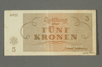 2016.496.6 back Theresienstadt ghetto-labor camp scrip, 5 kronen note, belonging to a German Jewish inmate  Click to enlarge