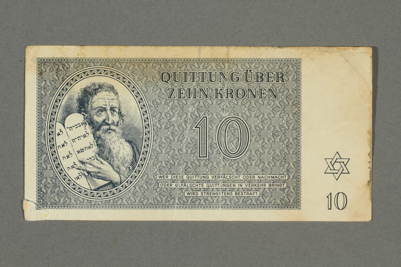 2016.496.7 front Theresienstadt ghetto-labor camp scrip, 10 kronen note, belonging to a German Jewish inmate