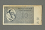 Theresienstadt ghetto-labor camp scrip, 10 kronen note, belonging to a German Jewish inmate