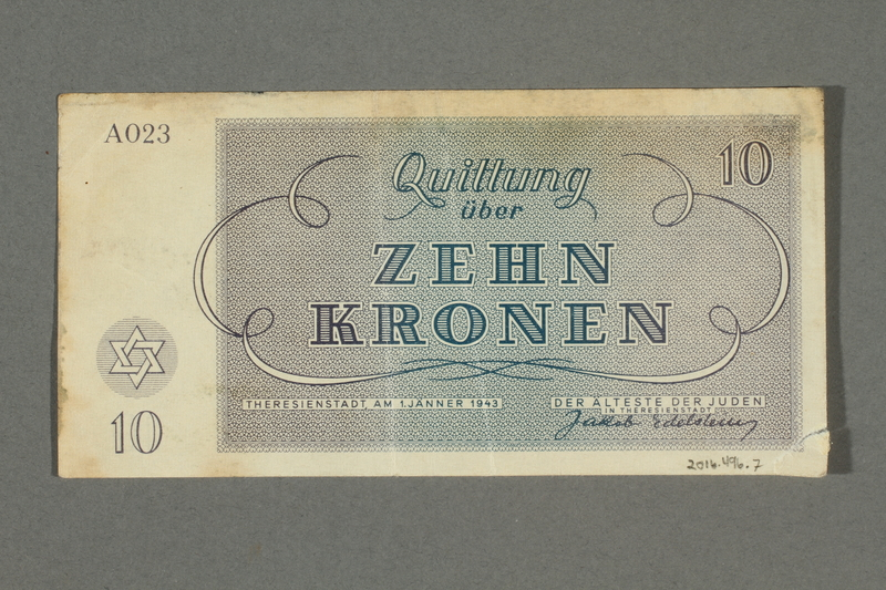 2016.496.7 back Theresienstadt ghetto-labor camp scrip, 10 kronen note, belonging to a German Jewish inmate