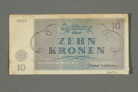 2016.496.7 back Theresienstadt ghetto-labor camp scrip, 10 kronen note, belonging to a German Jewish inmate  Click to enlarge