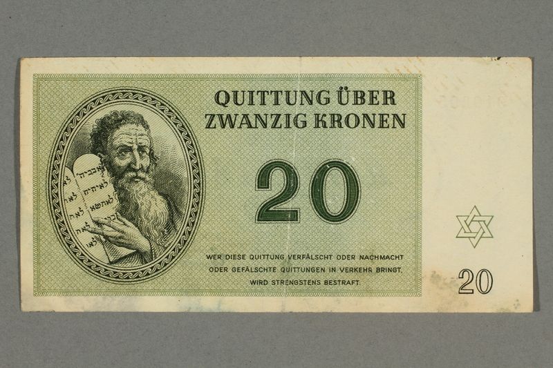 2016.496.8 front Theresienstadt ghetto-labor camp scrip, 20 kronen note, belonging to a German Jewish inmate