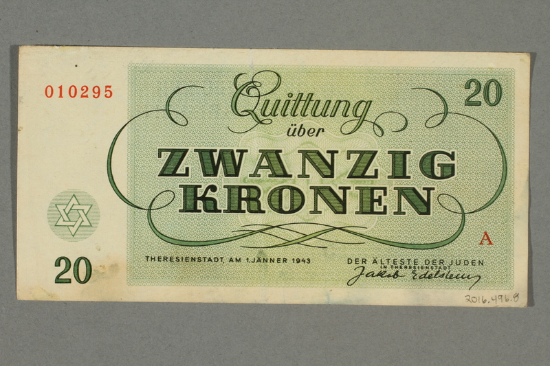2016.496.8 back Theresienstadt ghetto-labor camp scrip, 20 kronen note, belonging to a German Jewish inmate