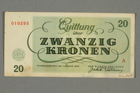 2016.496.8 back Theresienstadt ghetto-labor camp scrip, 20 kronen note, belonging to a German Jewish inmate  Click to enlarge