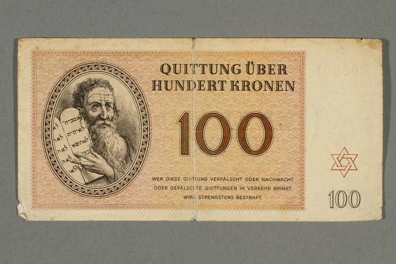 2016.496.10 front Theresienstadt ghetto-labor camp scrip, 100 kronen note, belonging to a German Jewish inmate