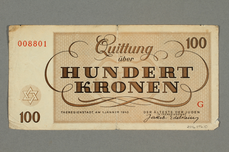 2016.496.10 back Theresienstadt ghetto-labor camp scrip, 100 kronen note, belonging to a German Jewish inmate