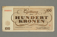 2016.496.10 back Theresienstadt ghetto-labor camp scrip, 100 kronen note, belonging to a German Jewish inmate  Click to enlarge