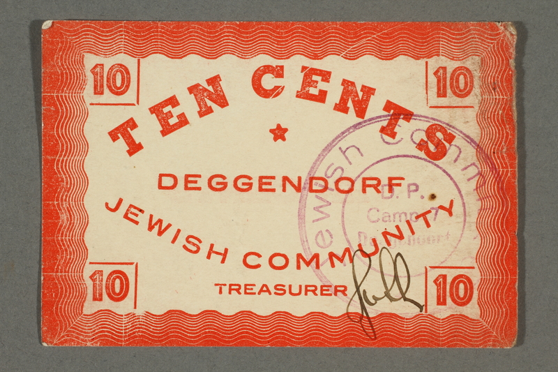 2016.496.11 front Deggendorf displaced persons camp scrip, 10-cent note, acquired by a former German Jewish prisoner