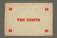 2016.496.11 back Deggendorf displaced persons camp scrip, 10-cent note, acquired by a former German Jewish prisoner  Click to enlarge