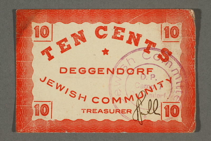 2016.496.12 front Deggendorf displaced persons camp scrip, 10-cent note, acquired by a former German Jewish prisoner