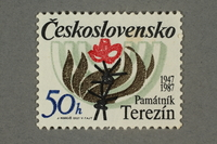 2016.496.14 front Czechoslovakian commemorative Theresienstadt Memorial postage stamp, 50h, acquired by a former German Jewish inmate  Click to enlarge