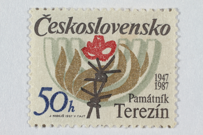 2016.496.14 front Czechoslovakian commemorative Theresienstadt Memorial postage stamp, 50h, acquired by a former German Jewish inmate