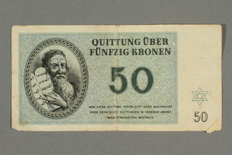 2016.496.9 front Theresienstadt ghetto-labor camp scrip, 50 kronen note, belonging to a German Jewish inmate