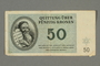 Theresienstadt ghetto-labor camp scrip, 50 kronen note, belonging to a German Jewish inmate