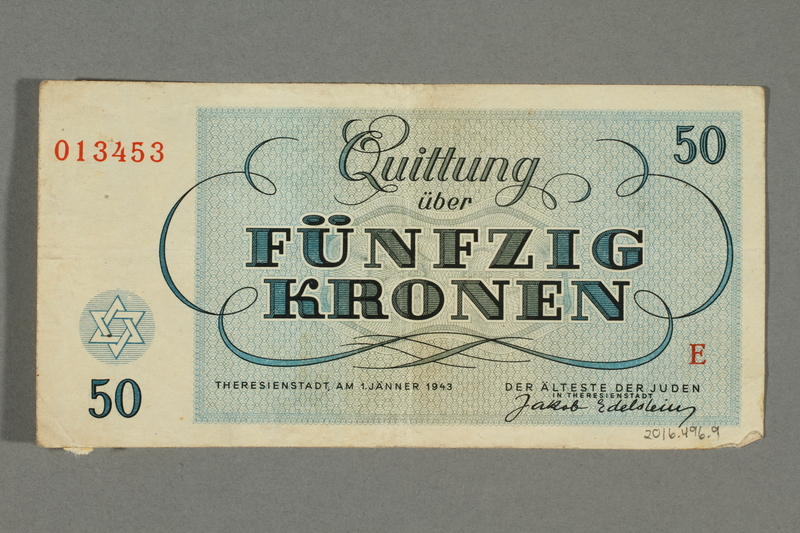 2016.496.9 back Theresienstadt ghetto-labor camp scrip, 50 kronen note, belonging to a German Jewish inmate
