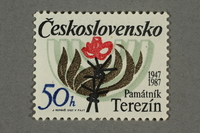 2016.496.15 front Czechoslovakian commemorative Theresienstadt Memorial postage stamp, 50h, acquired by a former German Jewish inmate  Click to enlarge