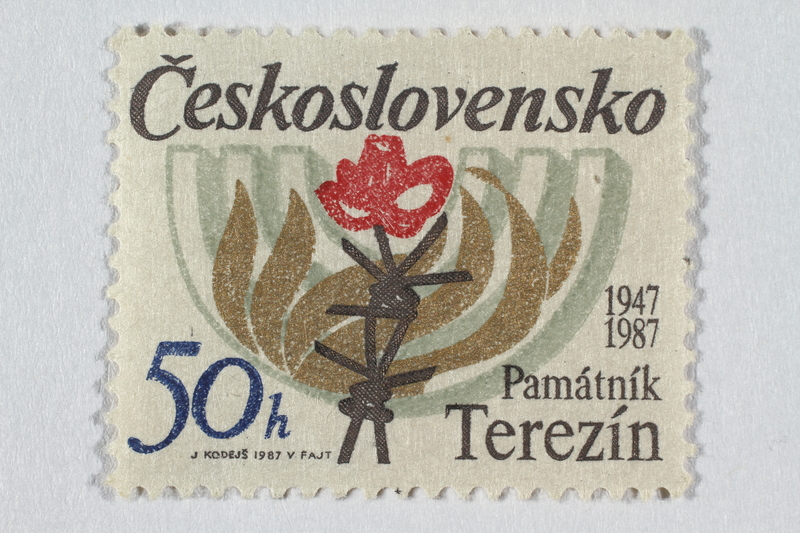2016.496.15 front Czechoslovakian commemorative Theresienstadt Memorial postage stamp, 50h, acquired by a former German Jewish inmate