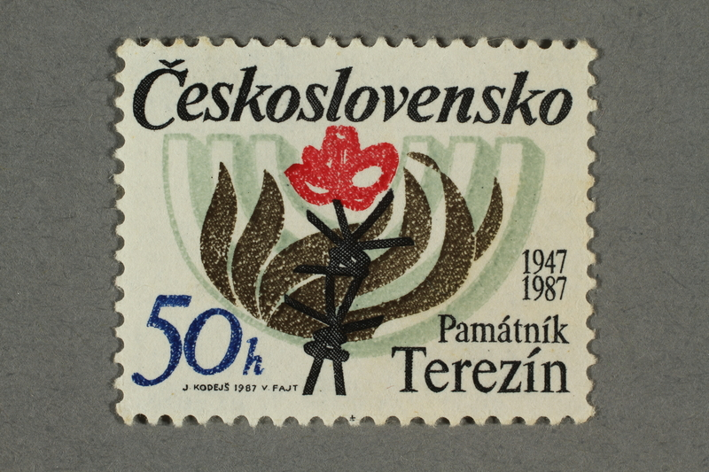 2016.496.16 front Czechoslovakian commemorative Theresienstadt Memorial postage stamp, 50h, acquired by a former German Jewish inmate