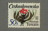 2016.496.16 front Czechoslovakian commemorative Theresienstadt Memorial postage stamp, 50h, acquired by a former German Jewish inmate  Click to enlarge