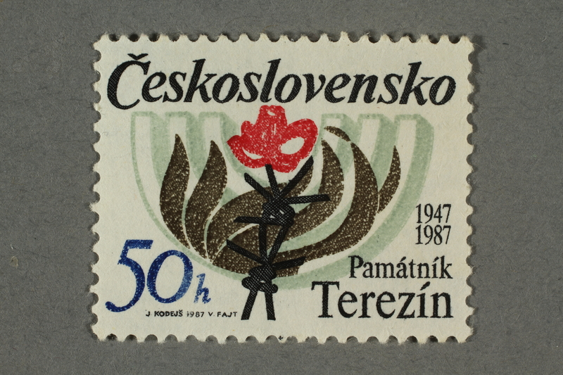 2016.496.17 front Czechoslovakian commemorative Theresienstadt Memorial postage stamp, 50h, acquired by a former German Jewish inmate