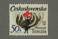 2016.496.18 front Czechoslovakian commemorative Theresienstadt Memorial postage stamp, 50h, acquired by a former German Jewish inmate  Click to enlarge