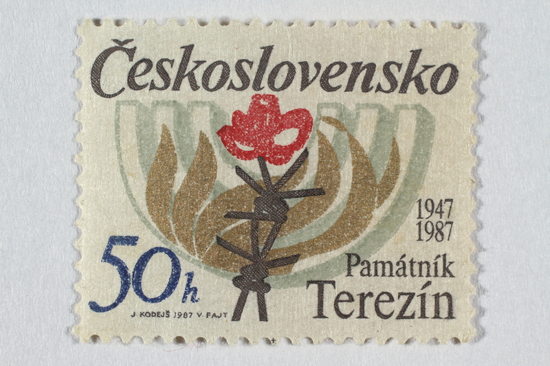 2016.496.18 front Czechoslovakian commemorative Theresienstadt Memorial postage stamp, 50h, acquired by a former German Jewish inmate