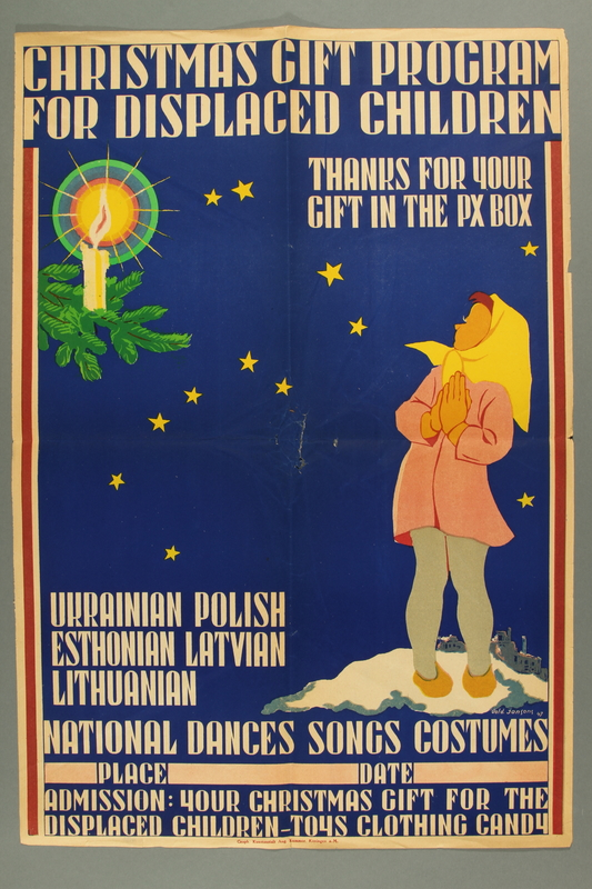 2015.451.61 front Poster advertising Christmas gifts for displaced children