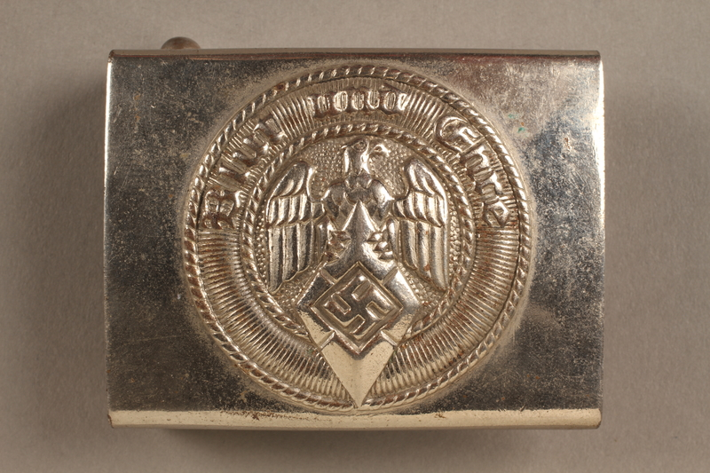 2017.179.2 front Nazi belt buckle given to US internee camp commander by German prisoner