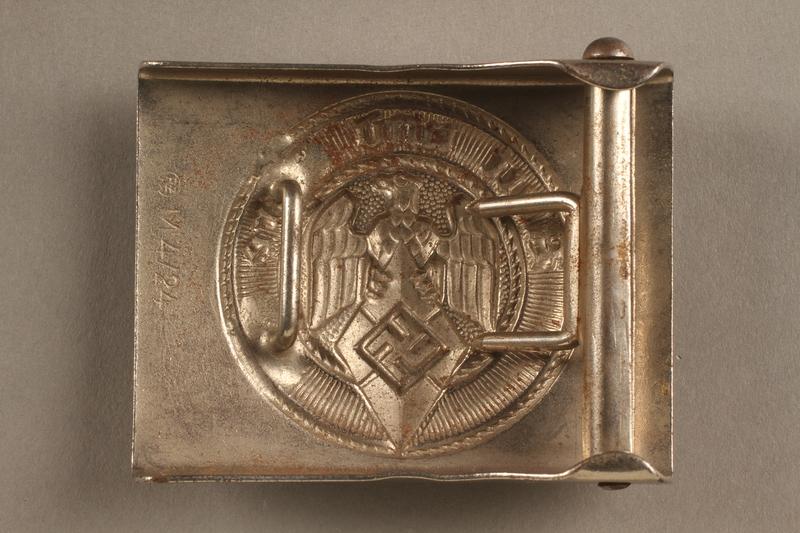 2017.179.2 back Nazi belt buckle given to US internee camp commander by German prisoner