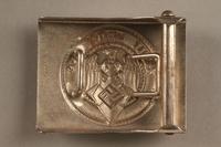 2017.179.2 back Nazi belt buckle given to US internee camp commander by German prisoner  Click to enlarge
