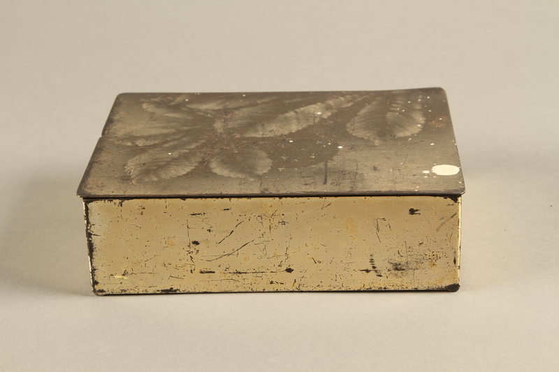 2017.179.4 front Box with embossed foliage given to US internee camp commander by German prisoner