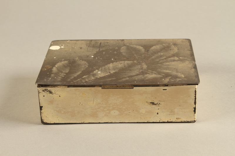 2017.179.4 back Box with embossed foliage given to US internee camp commander by German prisoner