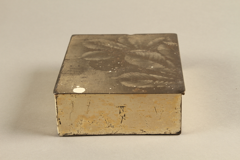 2017.179.4 left Box with embossed foliage given to US internee camp commander by German prisoner