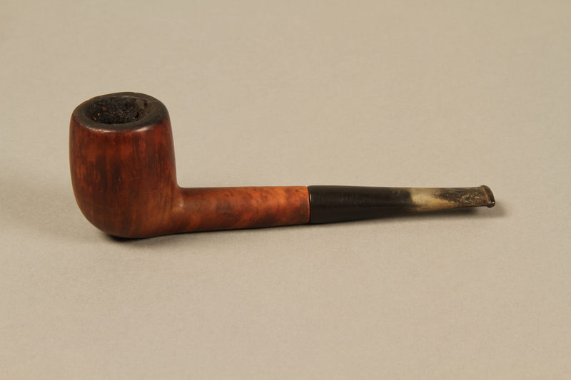 2012.427.3 left side Barling's briar wood straight billiard pipe used by American soldier and liberator